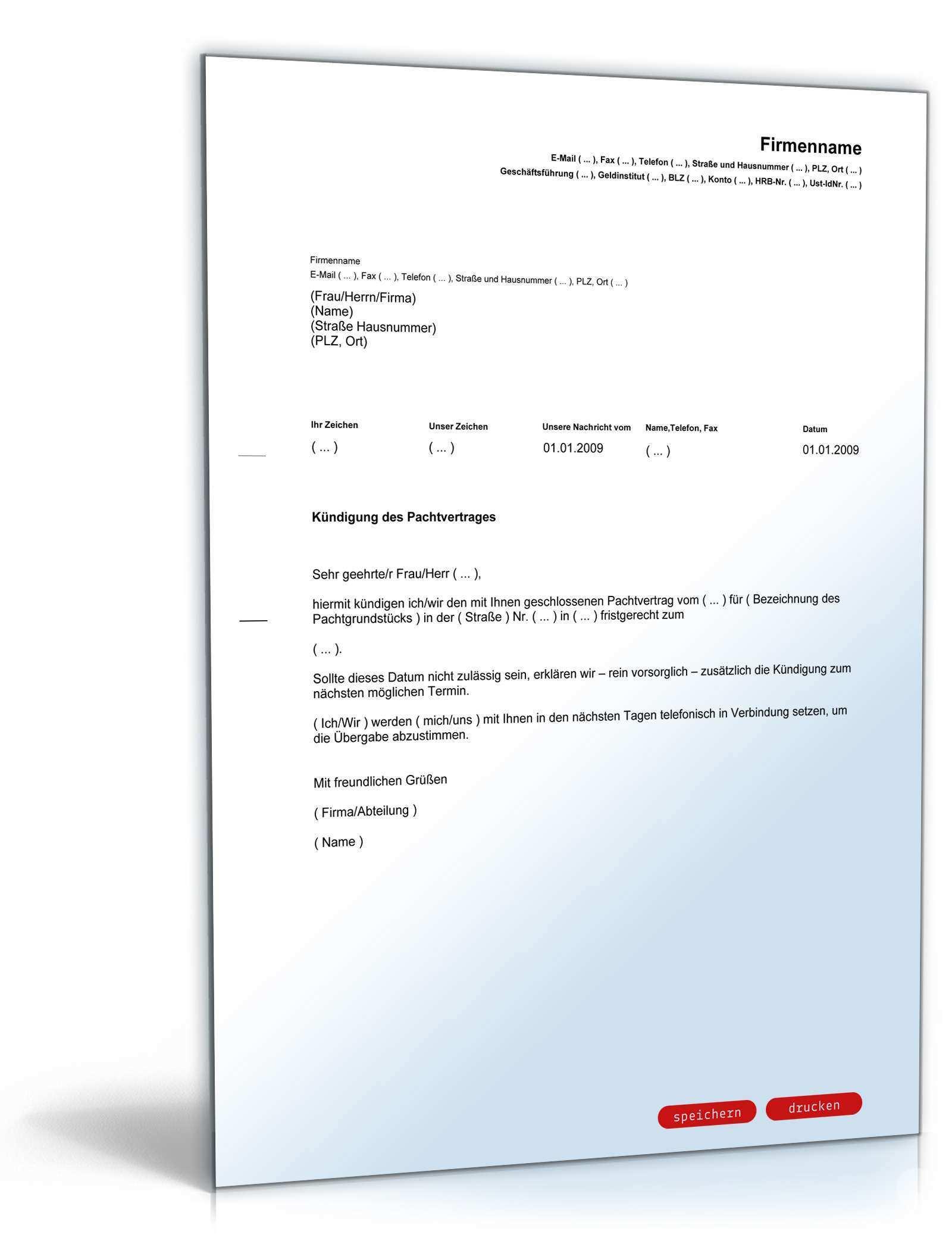 Kundigung Pachtvertrag Muster Zum Download