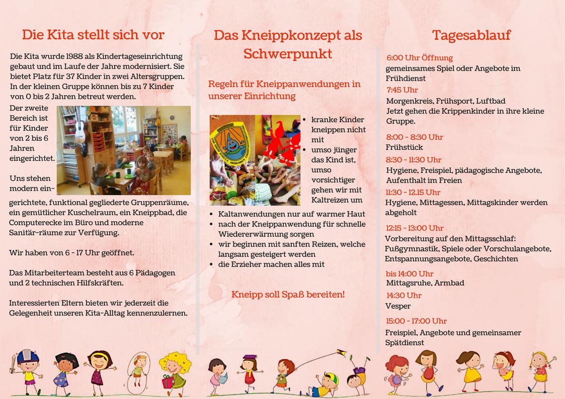 Flyer Kita Zwergenland Kindertageseinrichtung Kita Kinder Tag