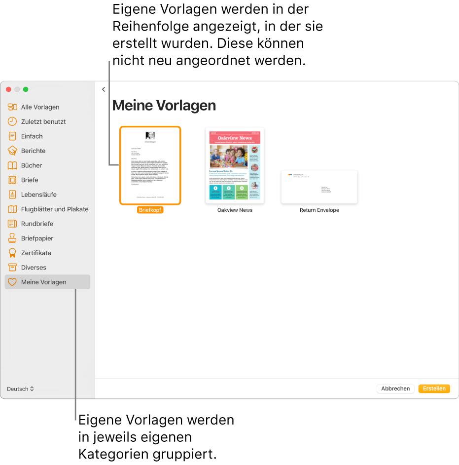 Erstellen Eigener Vorlagen In Pages Auf Dem Mac Apple Support