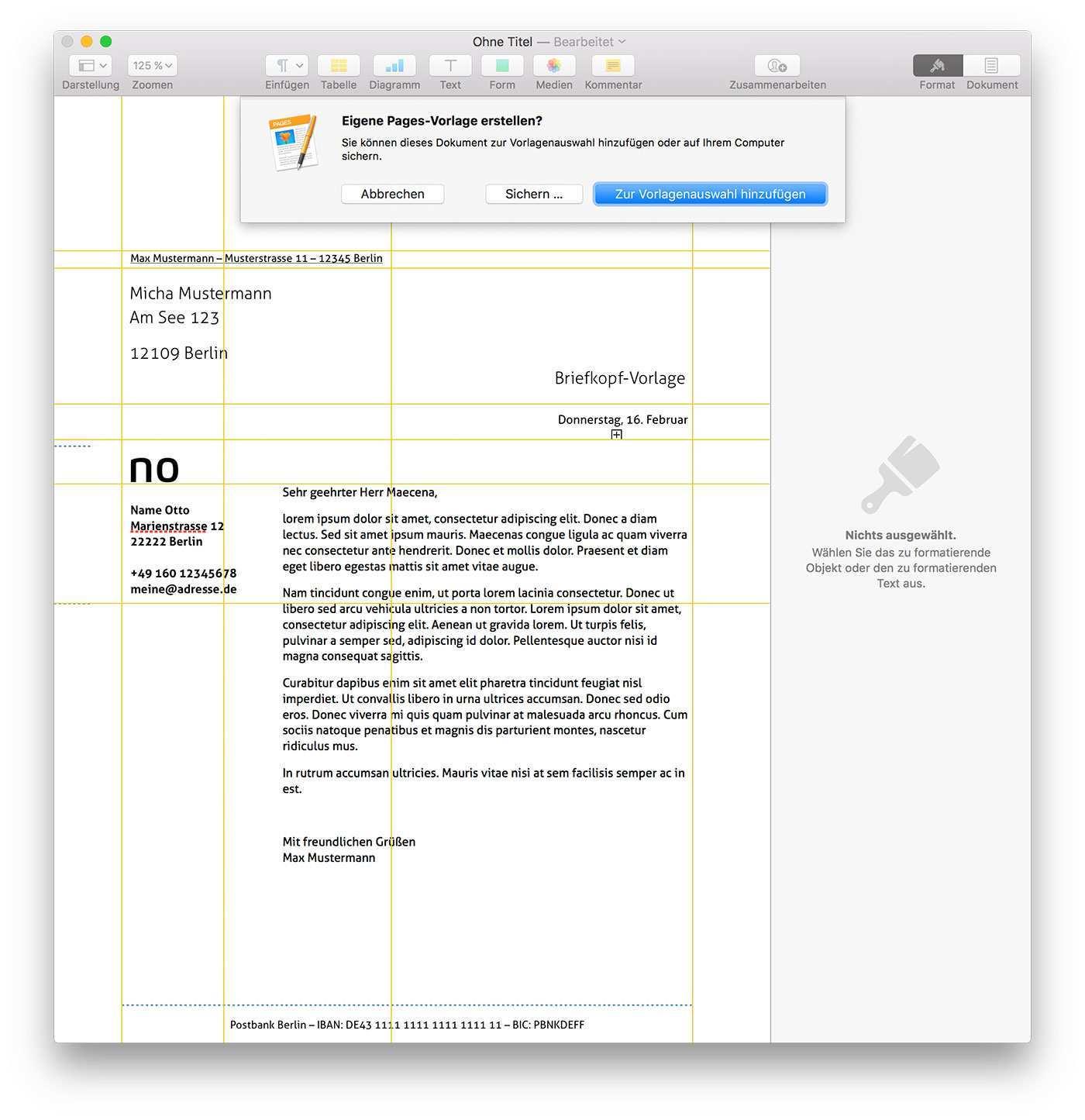 Mac Tipp Personlichen Briefkopf Als Feste Pages Vorlage Sichern Ifun De