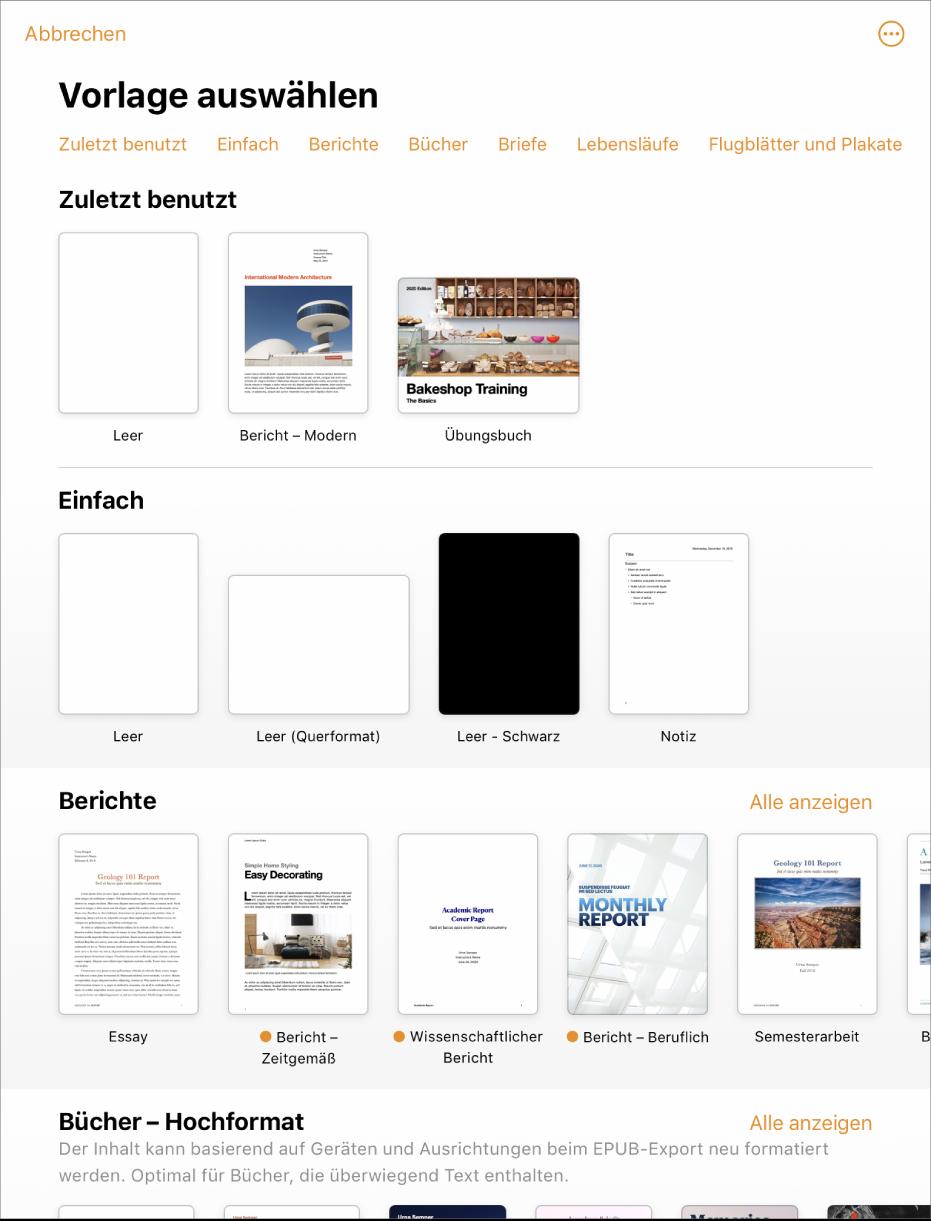 Verwenden Von Vorlagen In Pages Auf Dem Ipad Apple Support