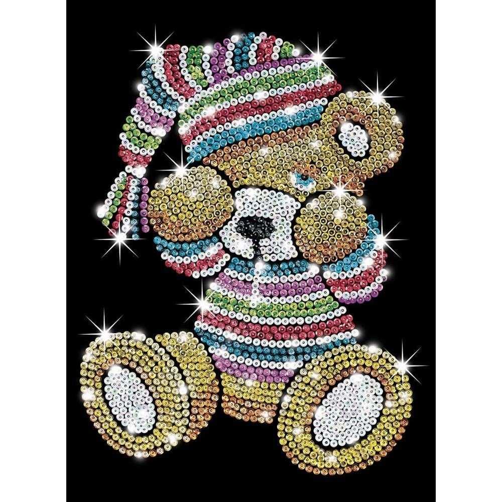 Ksg Sequin Art Original Paillettenbild Teddybar 616 Perlenkunst Punktmalerei Muster Malerei