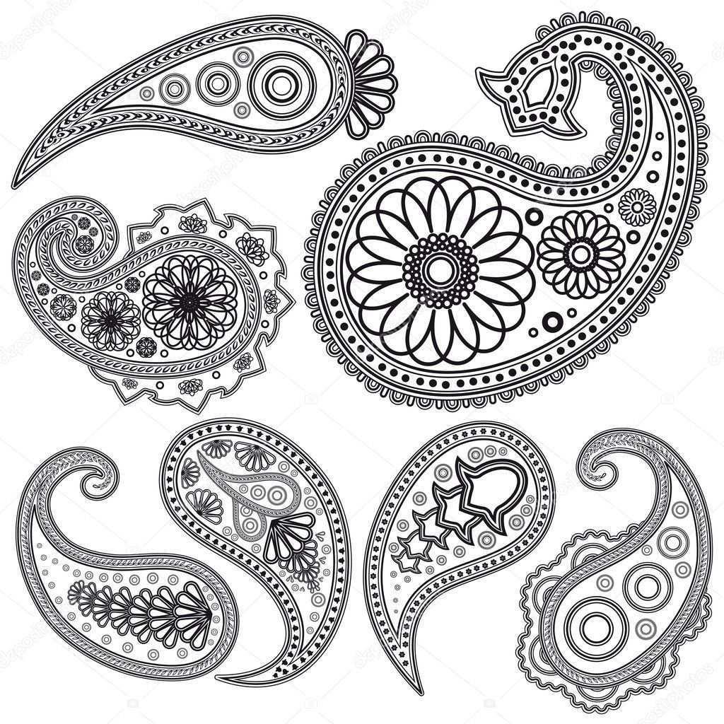Eps Vintage Paisley Muster Fur Design Illustration Fur Ihr Design Henna Tatowierung Designs Schablonen Kostenlos Drucken Indische Muster