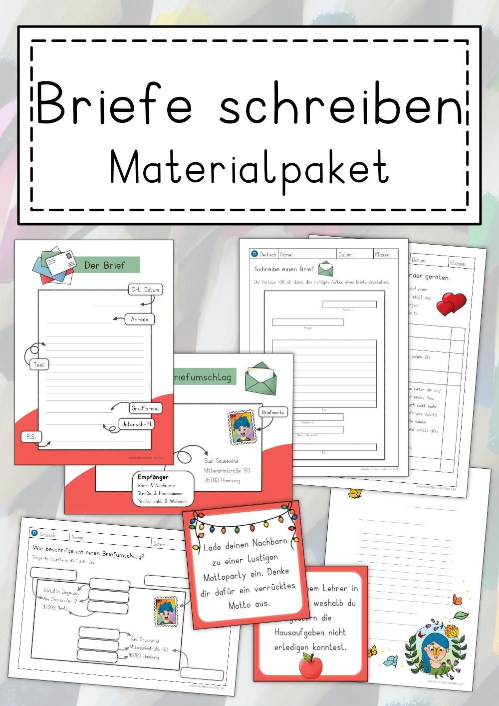 Materialpaket Brief Schreiben Grundschule Briefe Schreiben Briefe