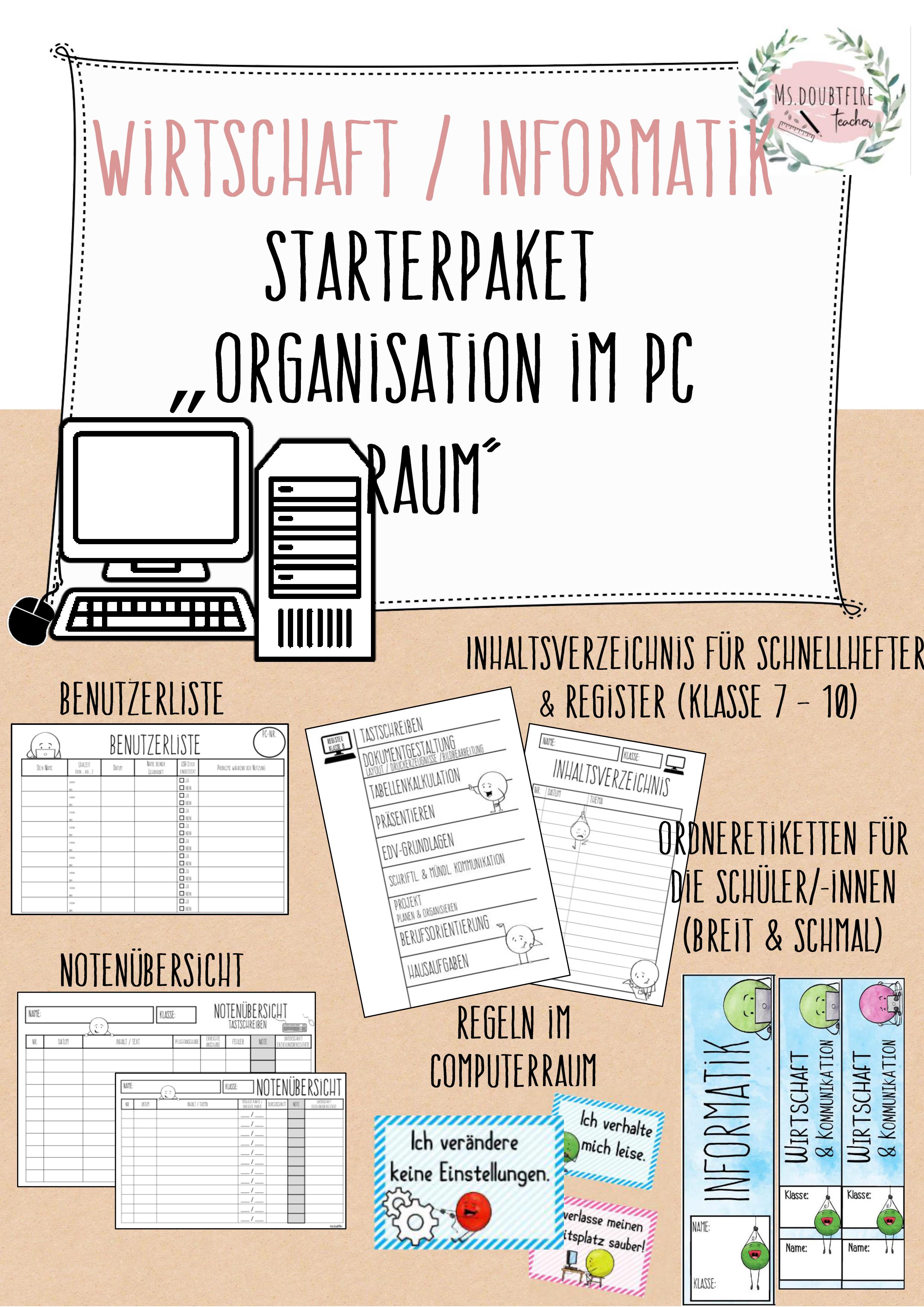 Starterpaket Fur Wirtschaft Informatik Notenliste Ordnerrucken Computerraumregeln Register Informatik Ordner Computer