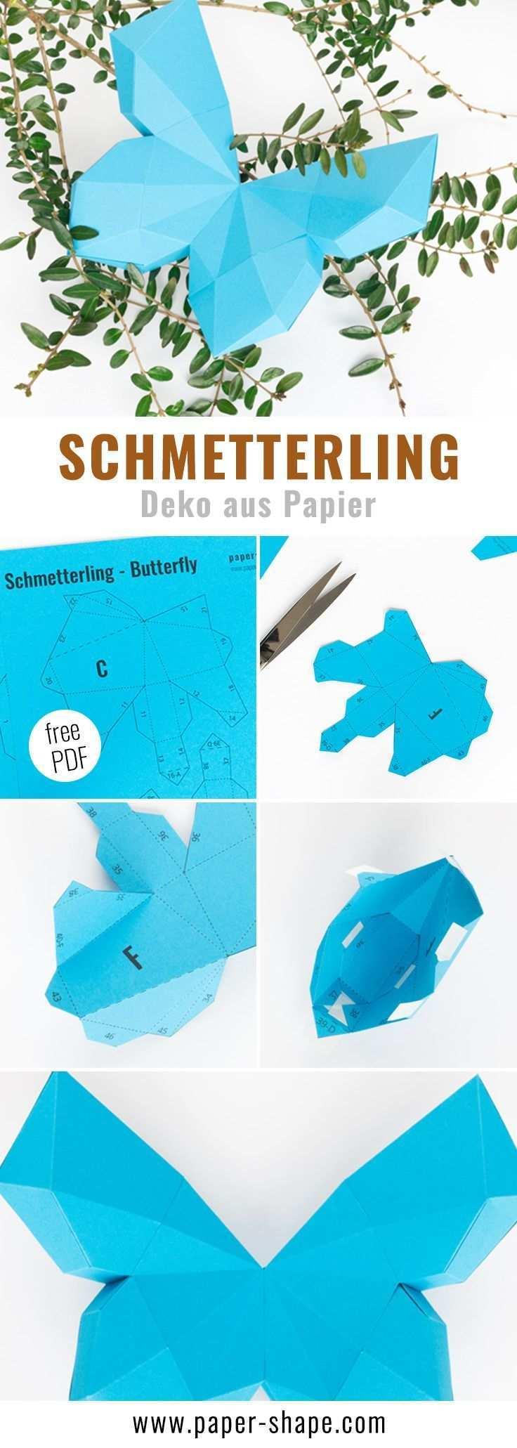 3d Schmetterling Basteln Als Wanddeko Mit Vorlage Handmade Paper Crafts Quilled Paper Art Paper Butterfly