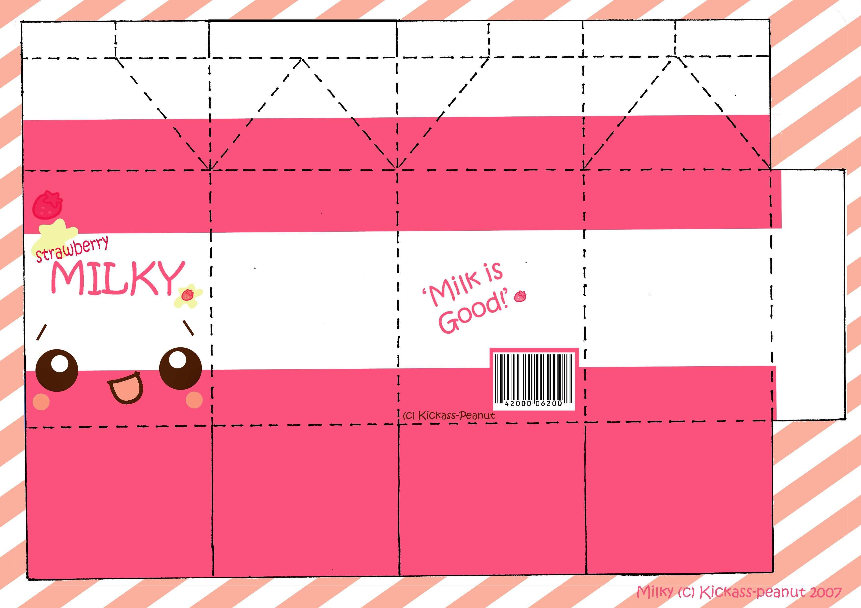 Strawberry Milky Papercraft By Kickass Peanut Jpg 3508 2480 Bastelvorlagen Bastelarbeiten Aus Papier Und Pappe Basteln