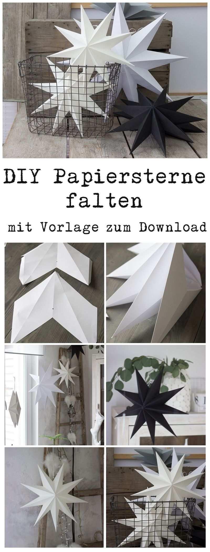 Papiersterne Fur Die Weihnachtsdeko Selber Falten Mit Vorlage Zum Download Auch Fur Silhouette Cameo Papiersterne Weihnachtsdekoration Stern Weihnachten