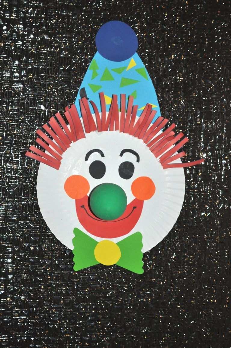 Karneval Maske Clown Pappteller Clown Basteln Fasching Basteln Basteln Mit Pappteller