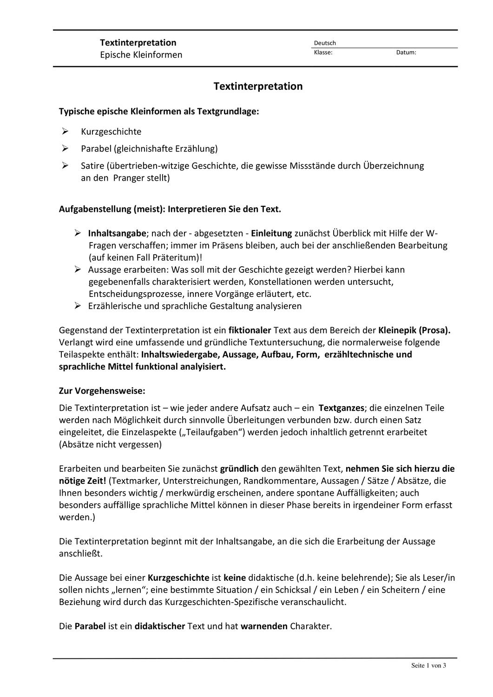 Textinterpretation Kurzprosa Unterrichtsmaterial Im Fach Deutsch Kurzgeschichte Interpretation W Fragen Kurzgeschichten