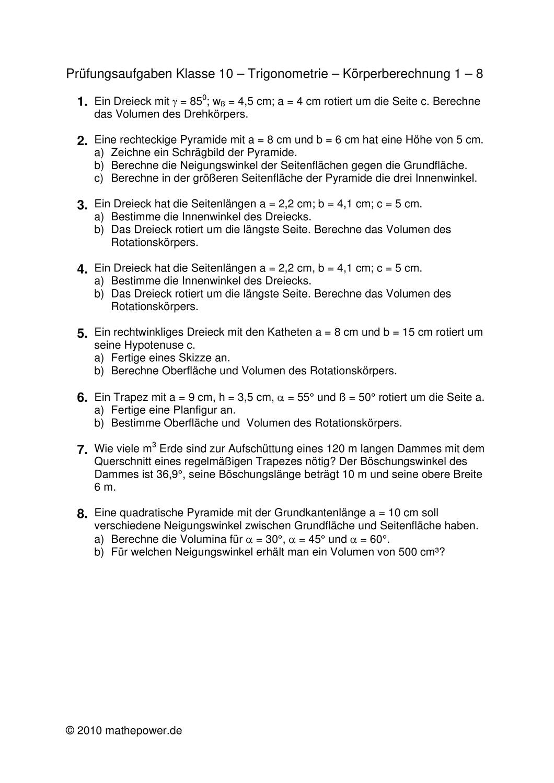 Abschlussprufung Nach Klasse 10 Trigonometrie Korperberechnung 1 8 Unterrichtsmaterial Im Fach Mathematik Trigonometrie Mathematik Mathematikunterricht