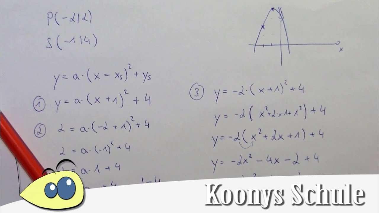 Parabel Aus Punkt Und Scheitelpunkt Bestimmen Beispiel Funktionsgleichung Quadratisch Youtube