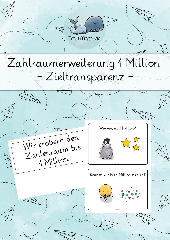 Zahlenraumerweiterung 1 Million Zieltransparenz Matheunterricht Zahlenraum Grundschule