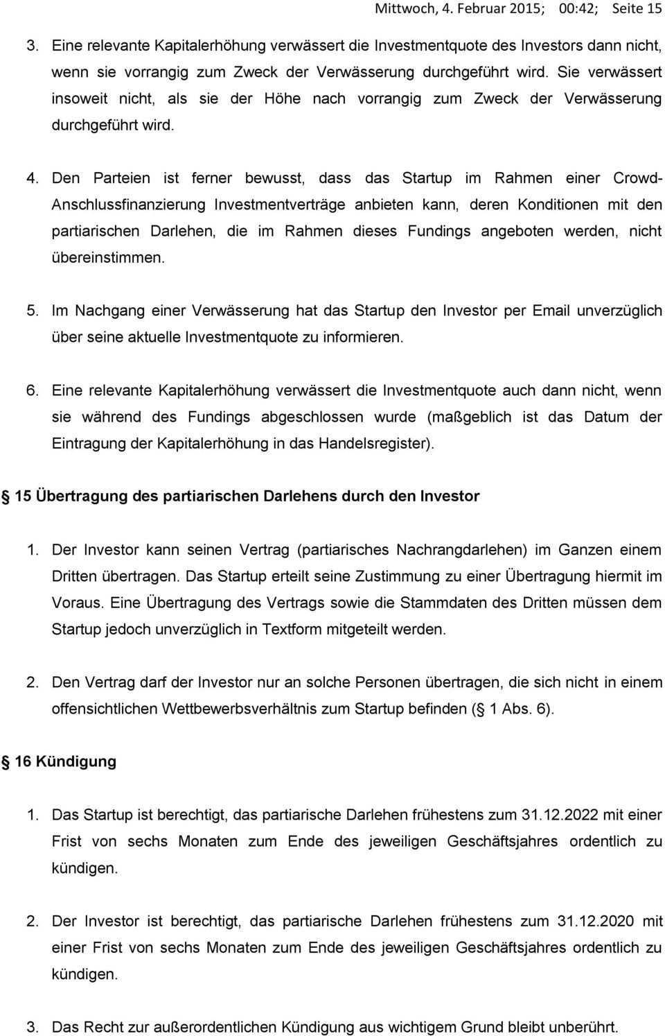 Investmentvertrag In Form Eines Partiarischen Nachrangdarlehens Nachfolgend Der Vertrag Pdf Free Download