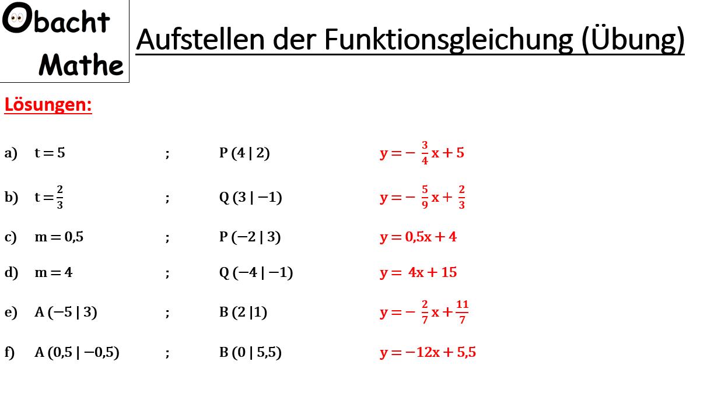 Aufstellen Der Funktionsgleichung Lineare Funktionen Ubungen Mit Losungen 2 Punkte Gegeben Steigung Und 1 Punkt Gegebe Gleichung Mathe Lineare Funktion