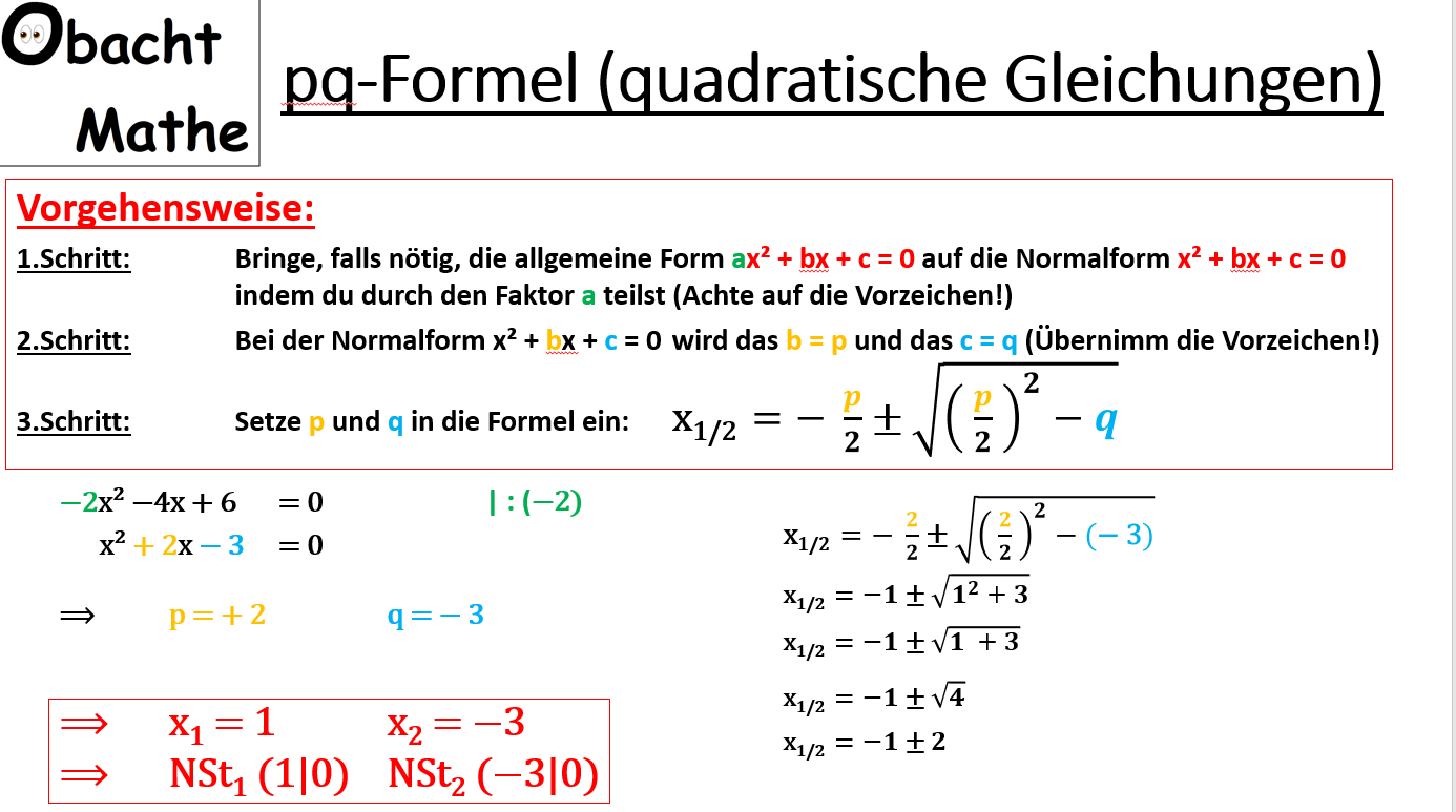 Pq Formel Quadratische Gleichungen Nullstellen Berechen Mit Der Pq Formel Vergleich Pq Formel Und Abc Formel Mittern Mathematik Lernen Mathe Gleichungen