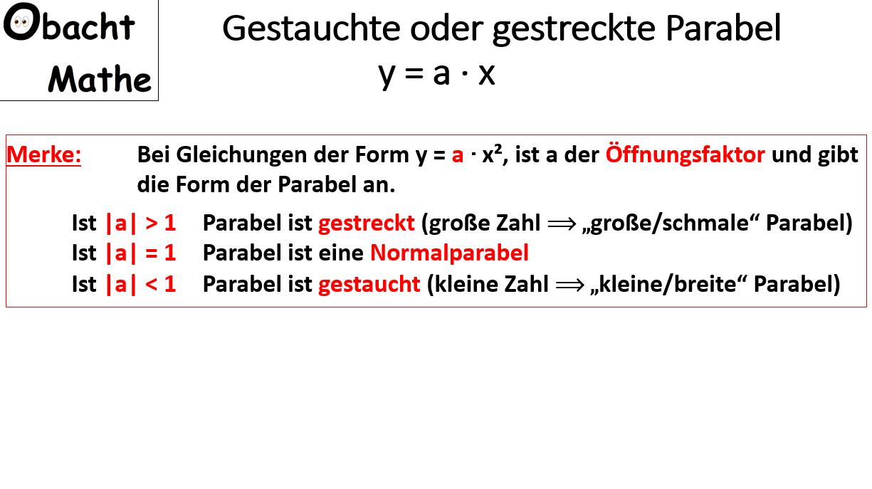 Gestauchte Oder Gestreckte Parabel Quadratische Funktionen Offnungsfaktor Normalparabel Einfach Erklart Obach Quadratische Funktion Mathe Gleichungen