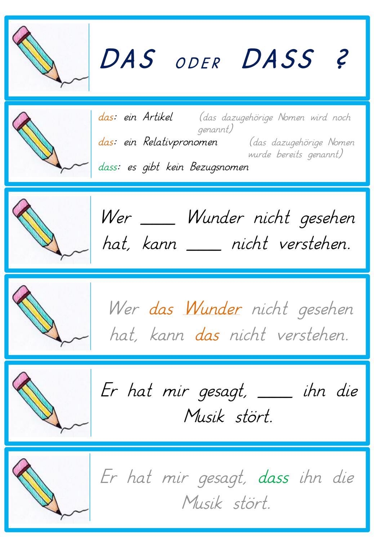 Deutsch Das Oder Dass Ubungskarten Deutsch Lernen Unterrichtsmaterial Deutsch Unterricht