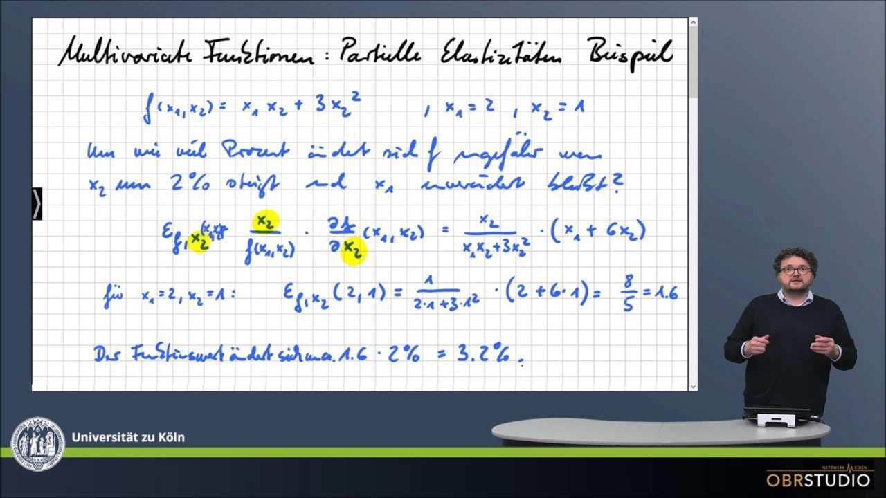 0178 Multivariate Funktionen Partielle Elastizitat Beispiel Youtube