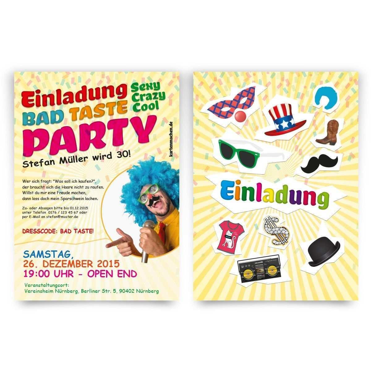 Einladungen Bad Taste Party Geburtstag Einladung Geburtstagseinladung Badtasteparty Badtaste Einladung Geburtstag Party Einladung Geburtstagseinladungen