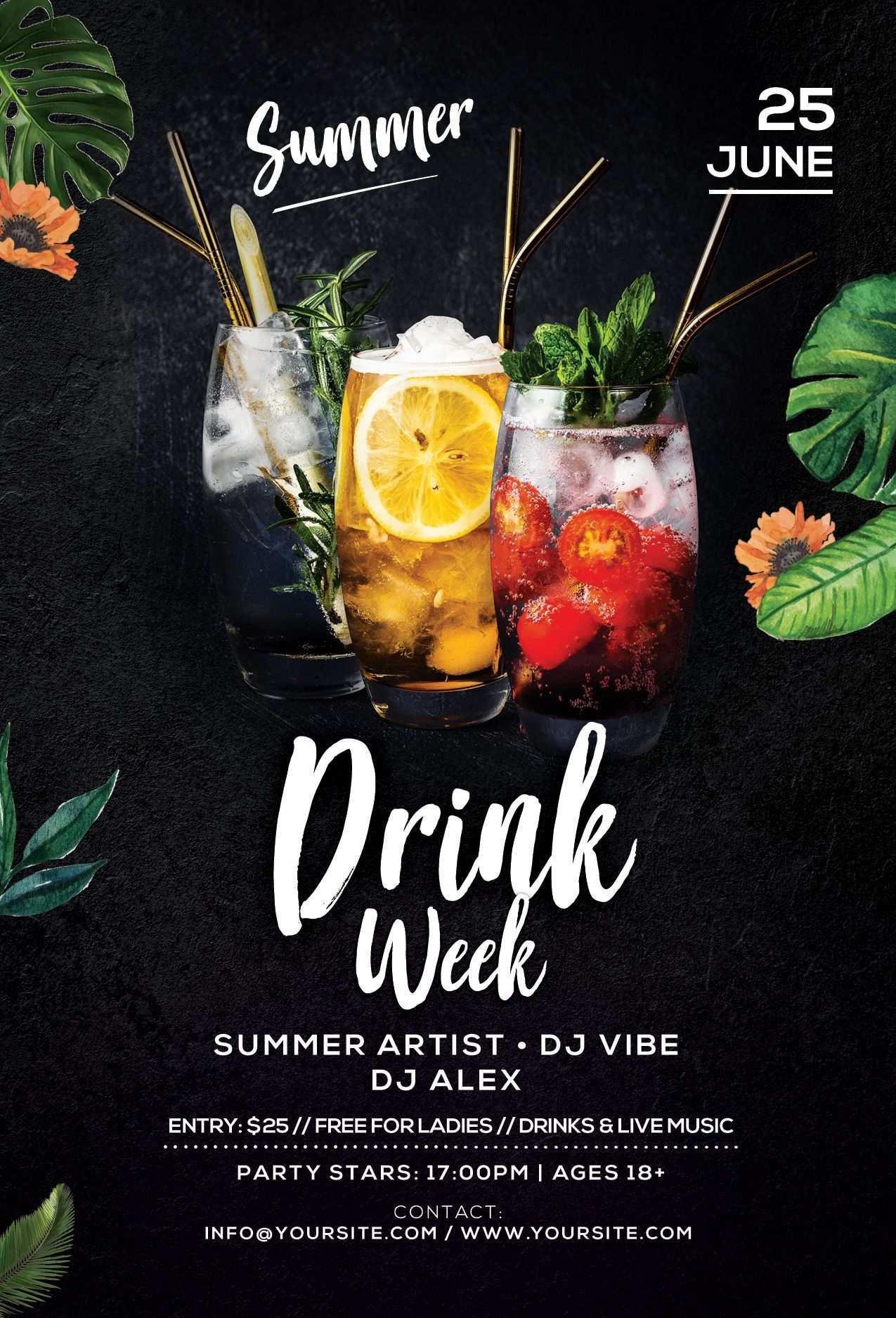 Drink Week Free Psd Flyer Template Download Drink Week Psd Flyer Template For Free This Summer Cocktail Flyer In 2020 Food Poster Design Food Poster Food Menu Design