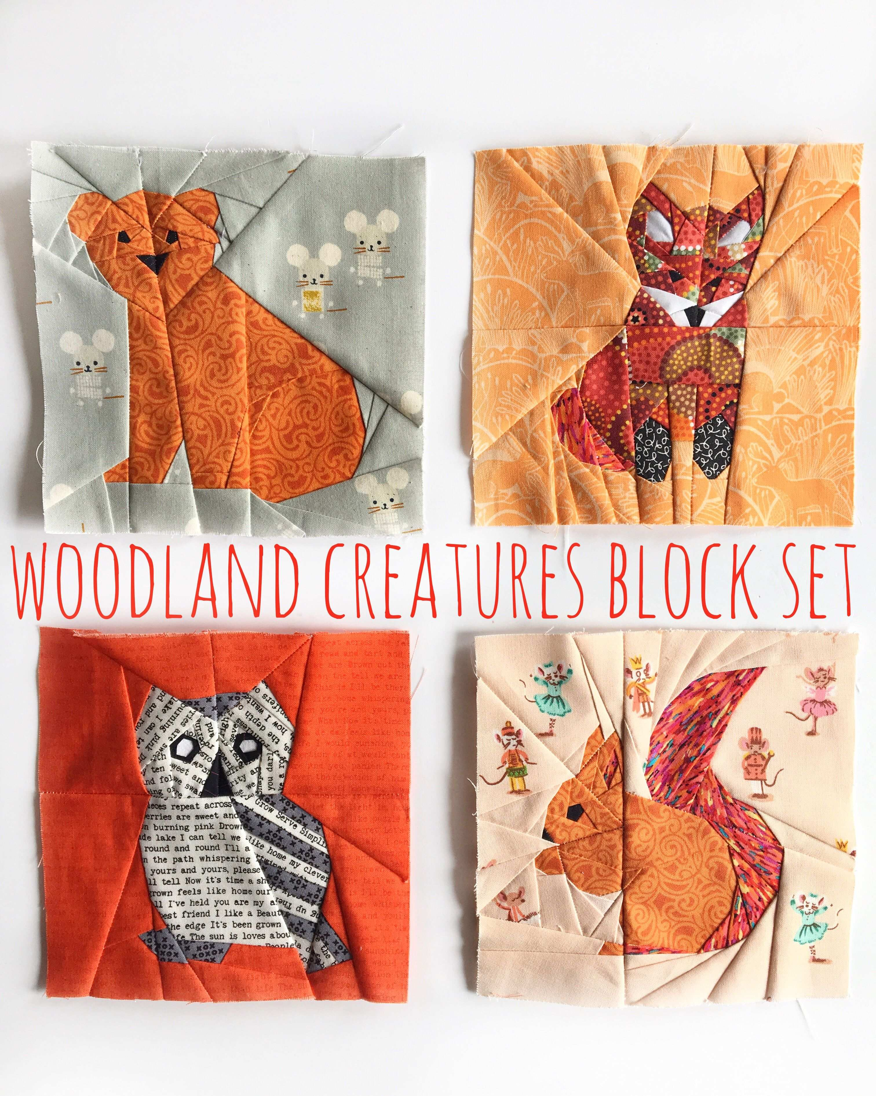 Woodland Creatures Pattern Set Quilt Pattern Animal Quilt Fox Pattern Foundation Paper Piecing Foundation Paper Piecing Patterns Animal Quilts Bear Quilts