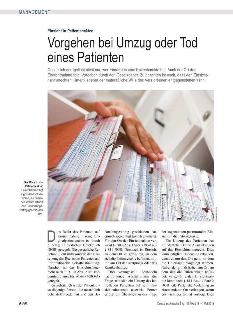Einsicht In Patientenakten Vorgehen Bei Umzug Oder Tod Eines Patienten
