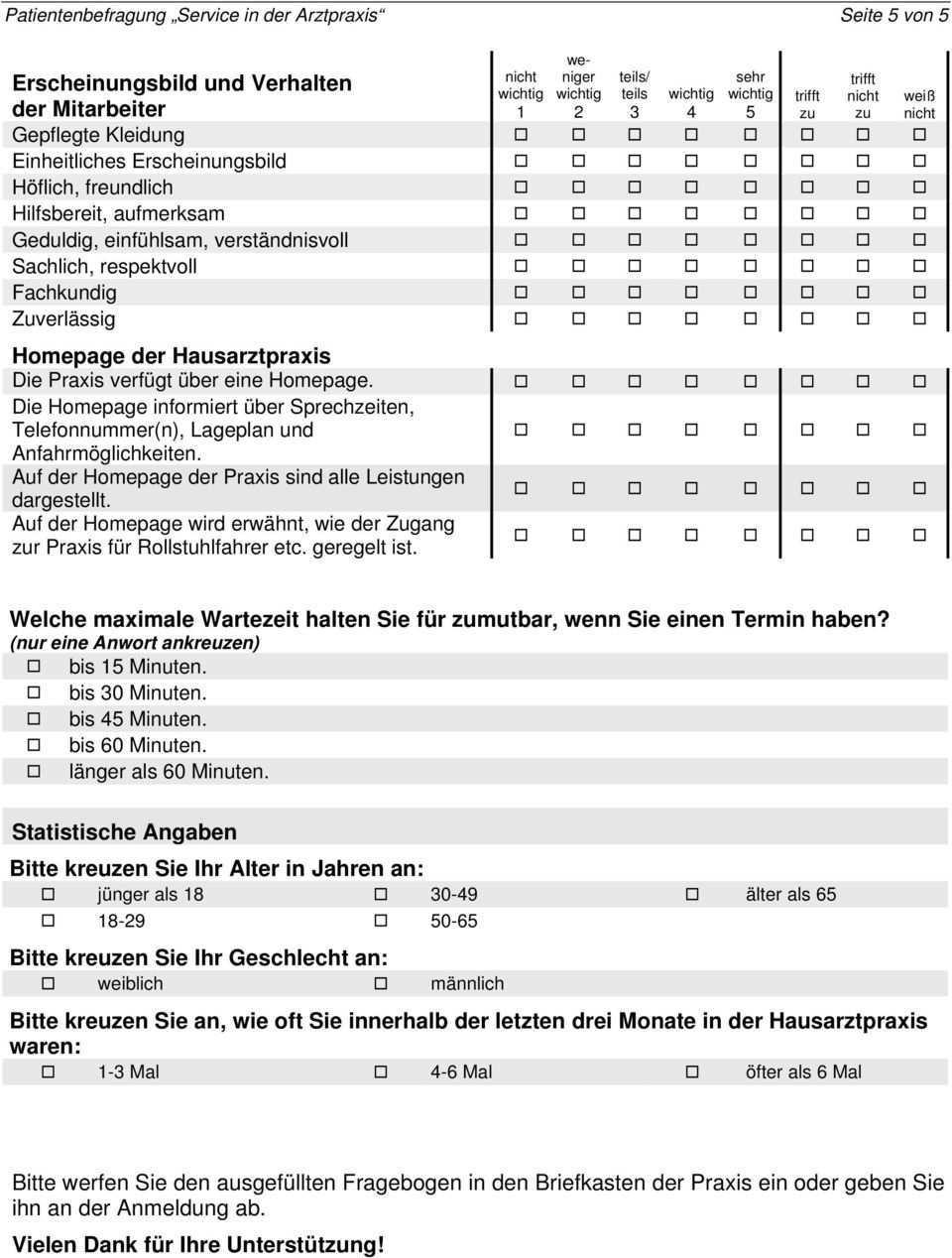 Patientenbefragung Zum Service In Der Arztpraxis Pdf Kostenfreier Download