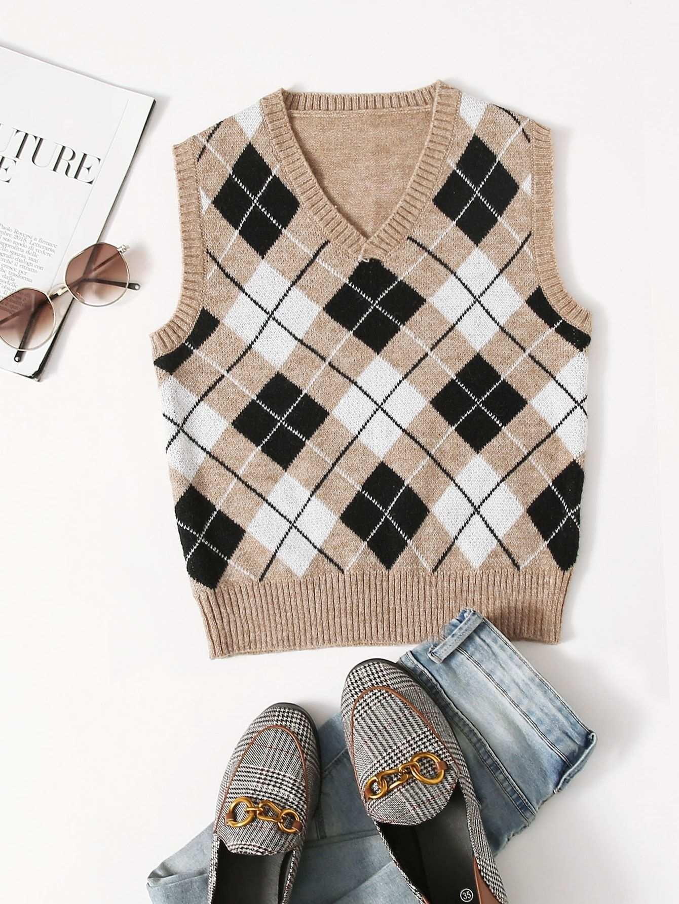 V Neck Argyle Pattern Sweater Vest Shein Usa In 2020 Sweater Vest Knit Vest Pattern Argyle Sweater Vest