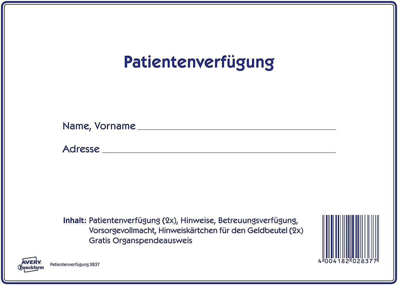 Avery Zweckform 2837 Patientenverfugung Set Patientenverfugung Betreuungsverfugung Vorsorgevollmacht 1 Set Amazon De Burobedarf Schreibwaren