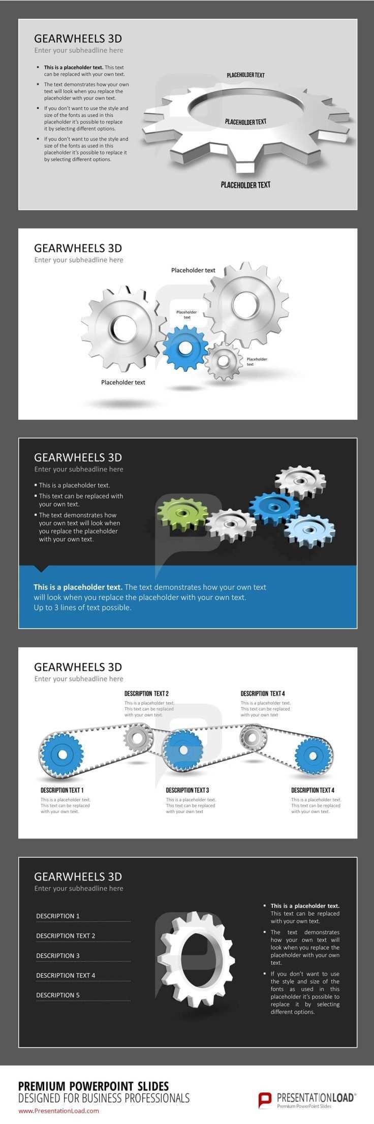 A Variation Of Different Gearwheel 3d Slides Powerpoint Slide Designs Powerpoint Templates Slide Design