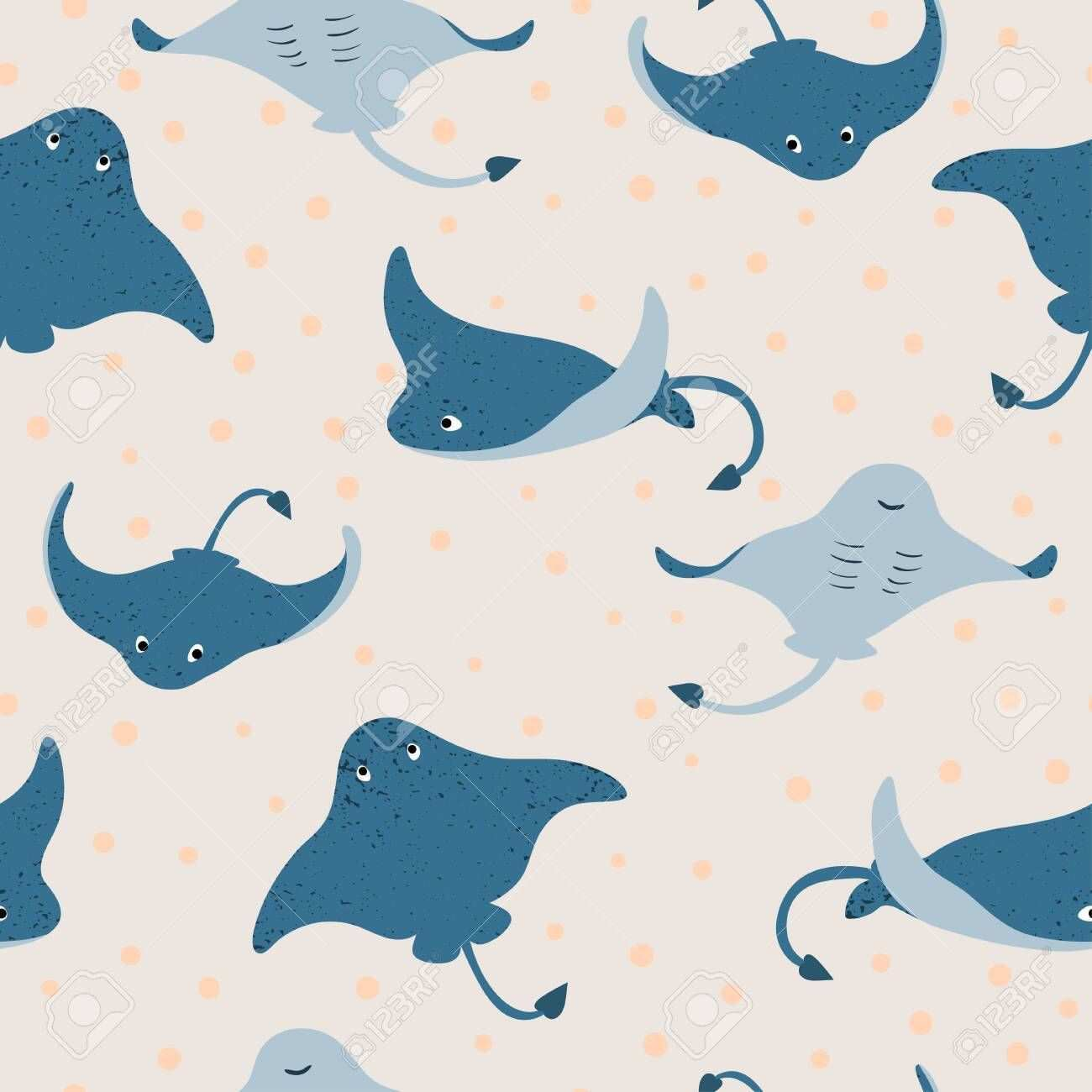 Seamless Underwater Pattern With Stingray Fish Illustration Aff Pattern Underwater Seamless Illustrati Fish Illustration Stingray Fish Cute Animals