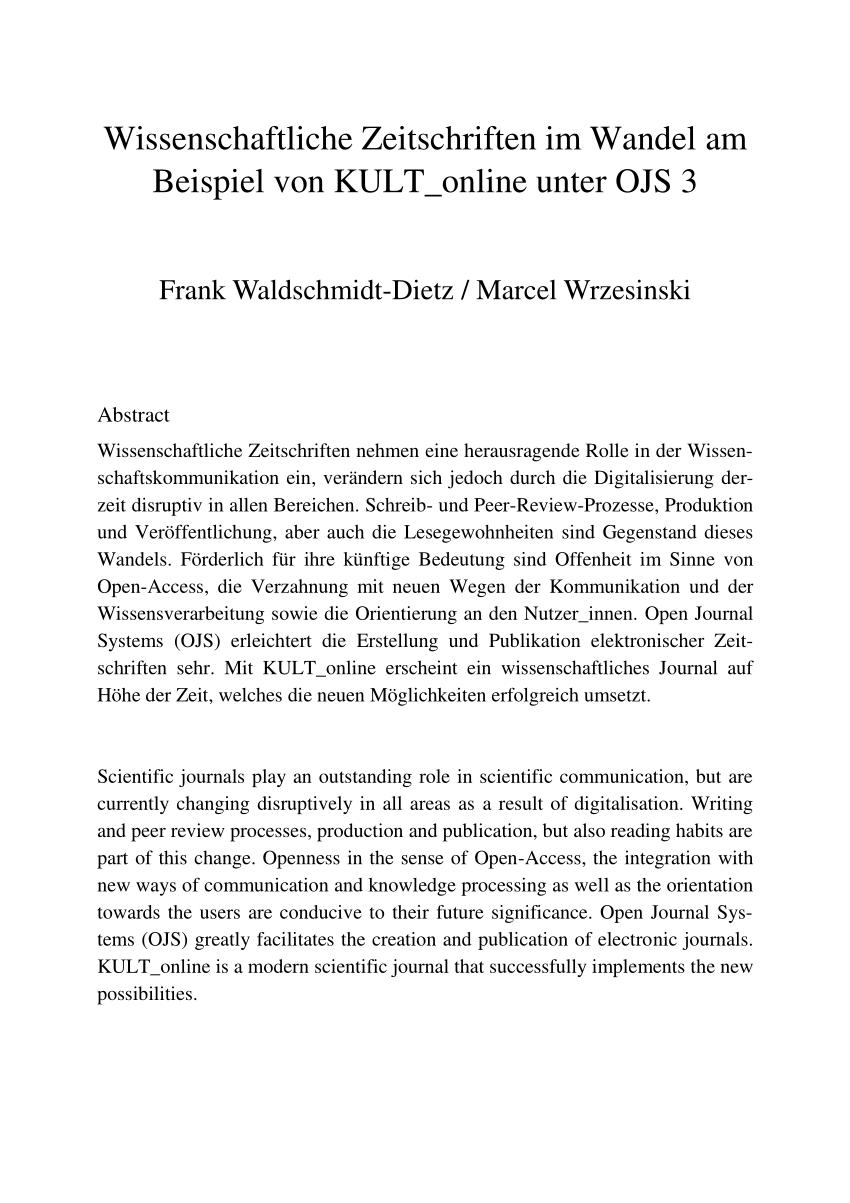 Pdf Wissenschaftliche Zeitschriften Im Wandel Am Beispiel Von Kult Online Unter Ojs 3