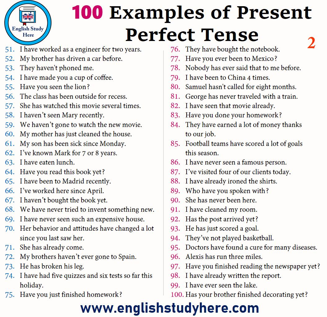 100 Satze Des Prasens Perfekt Beispiele Fur Present Perfect Tense Eng Gramatica Inglesa Vocabulario En Ingles Vocabulario Ingles Espanol