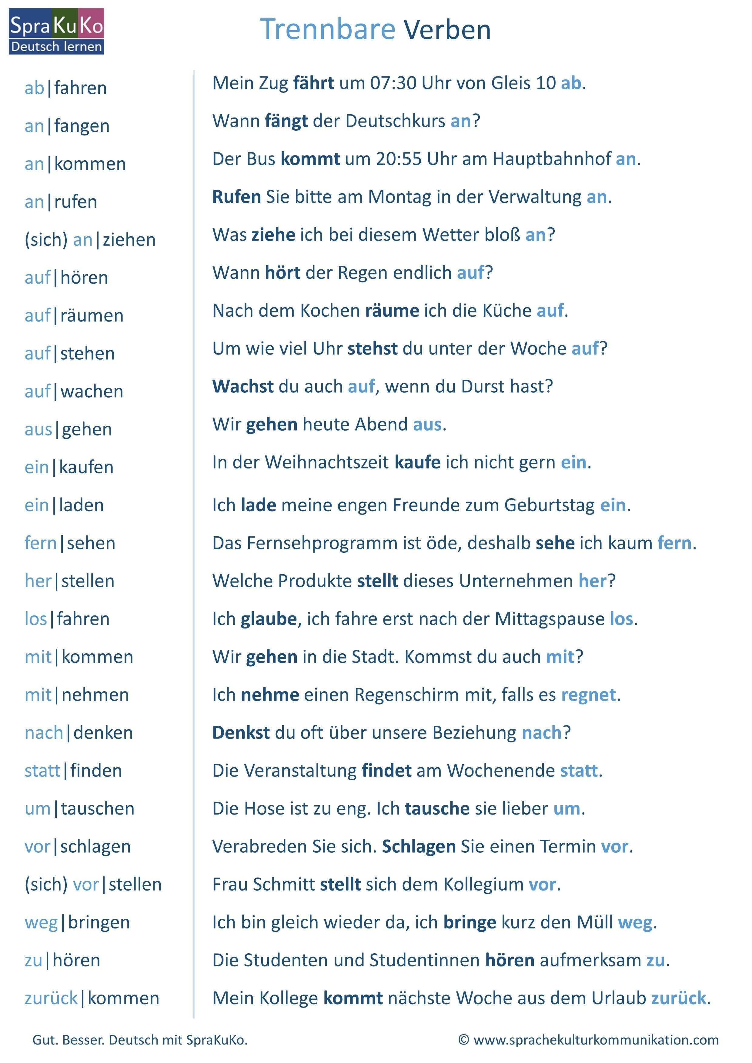 Trennbare Verben Liste Deutsch Lernen Verben Liste Lernen