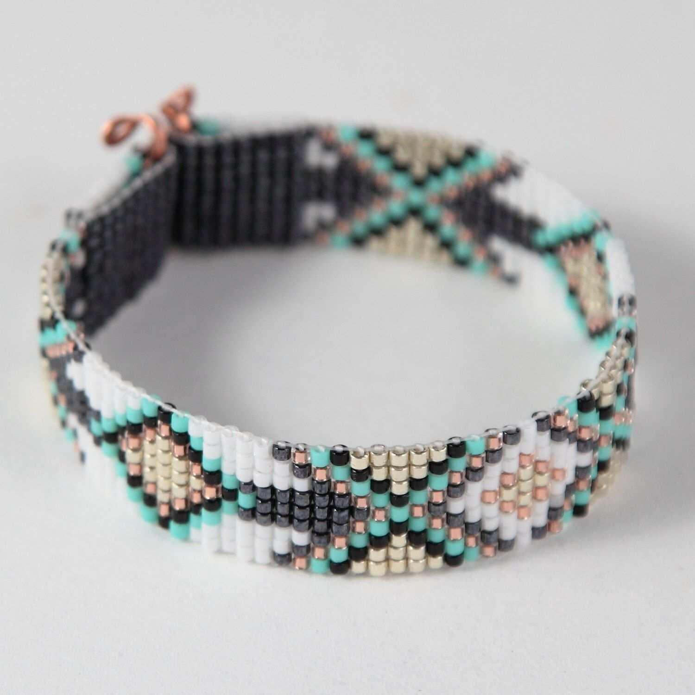Tribal Diamonds Bead Loom Bracelet Bohemian Boho Artisanal Perlenkette Muster Armband Perlen Gewebte Armbander