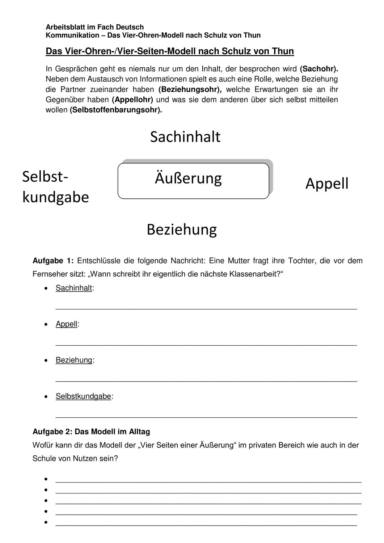 Ab Schulz Von Thun Unterrichtsmaterial Im Fach Deutsch Schulz Von Thun Schulz Von Thun Kommunikation Schulz