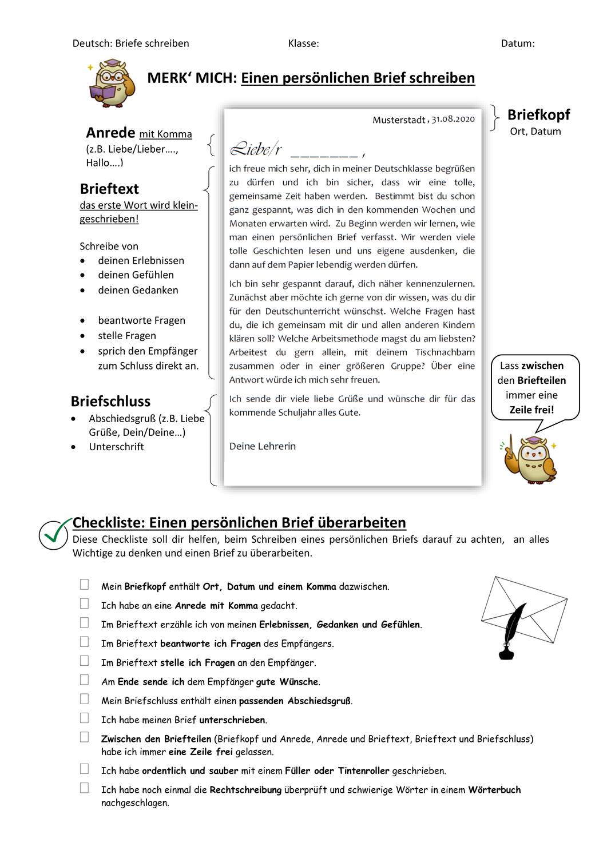 Merkblatt Checkliste Einen Personlichen Brief Schreiben Briefe Schreiben Briefe Lesen Personlichen Brief Schreiben