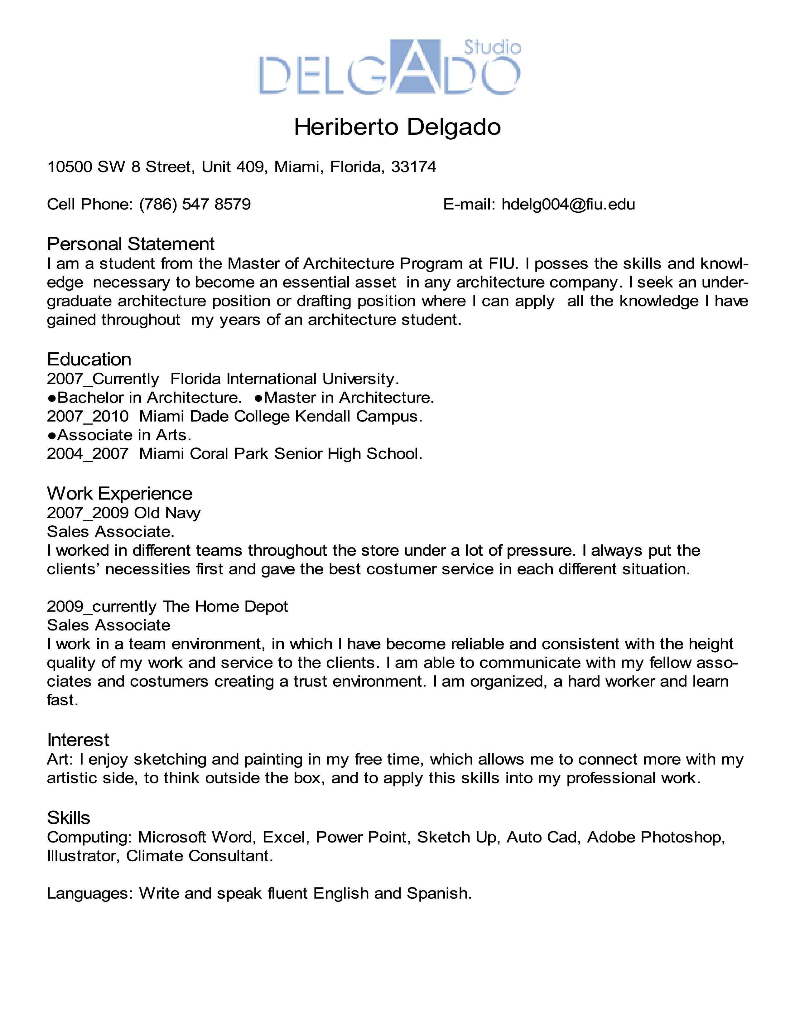Curriculum Vitae Assignment Curriculum Vitae Architecture Program Personal Statement