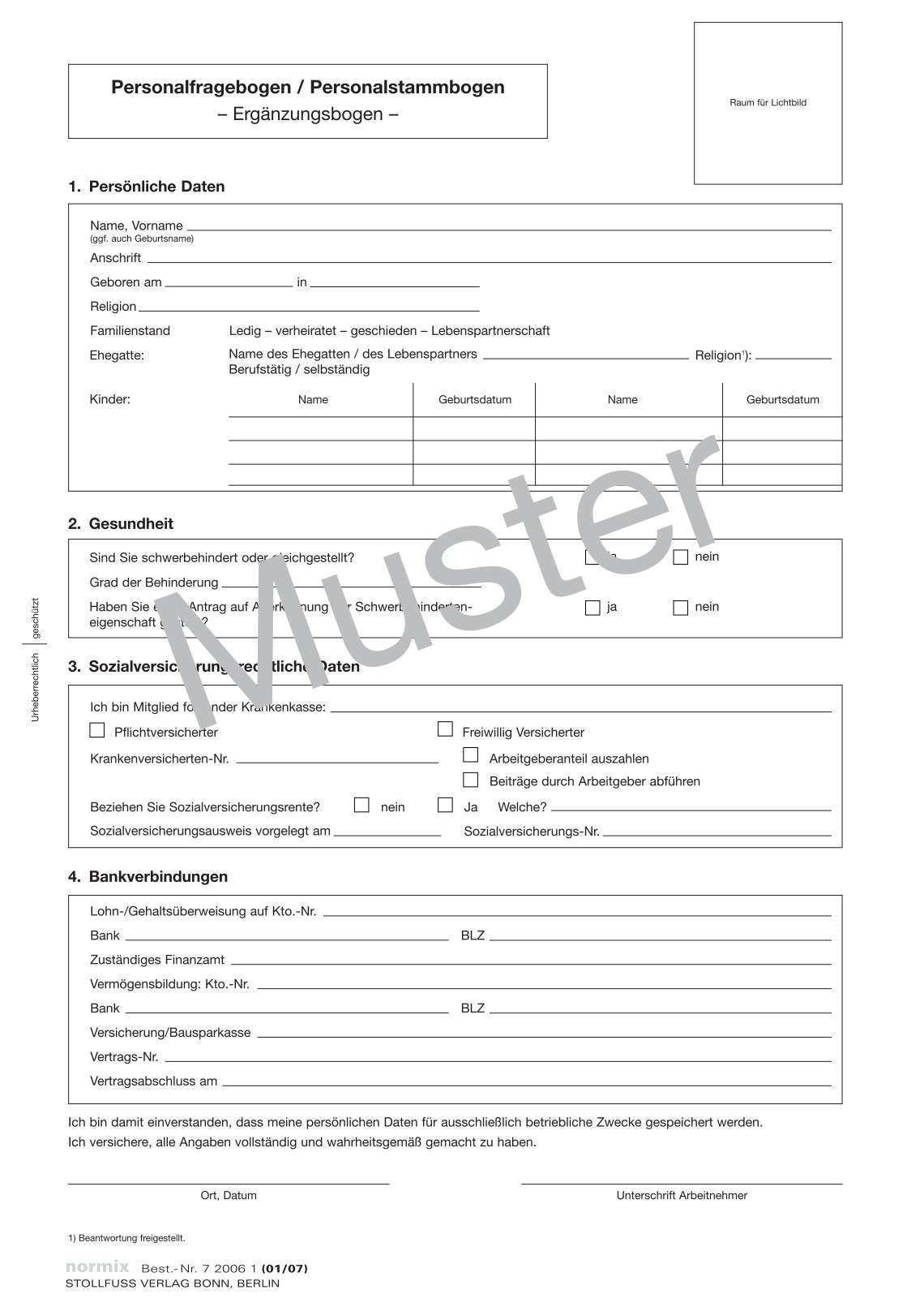 Personalfragebogen Minijob Fragebogen Bewerber Merkmale Kebut