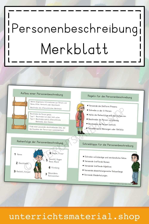 Personenbeschreibung Merkblatt Personenbeschreibung Grundschule Vokabeln Lernen