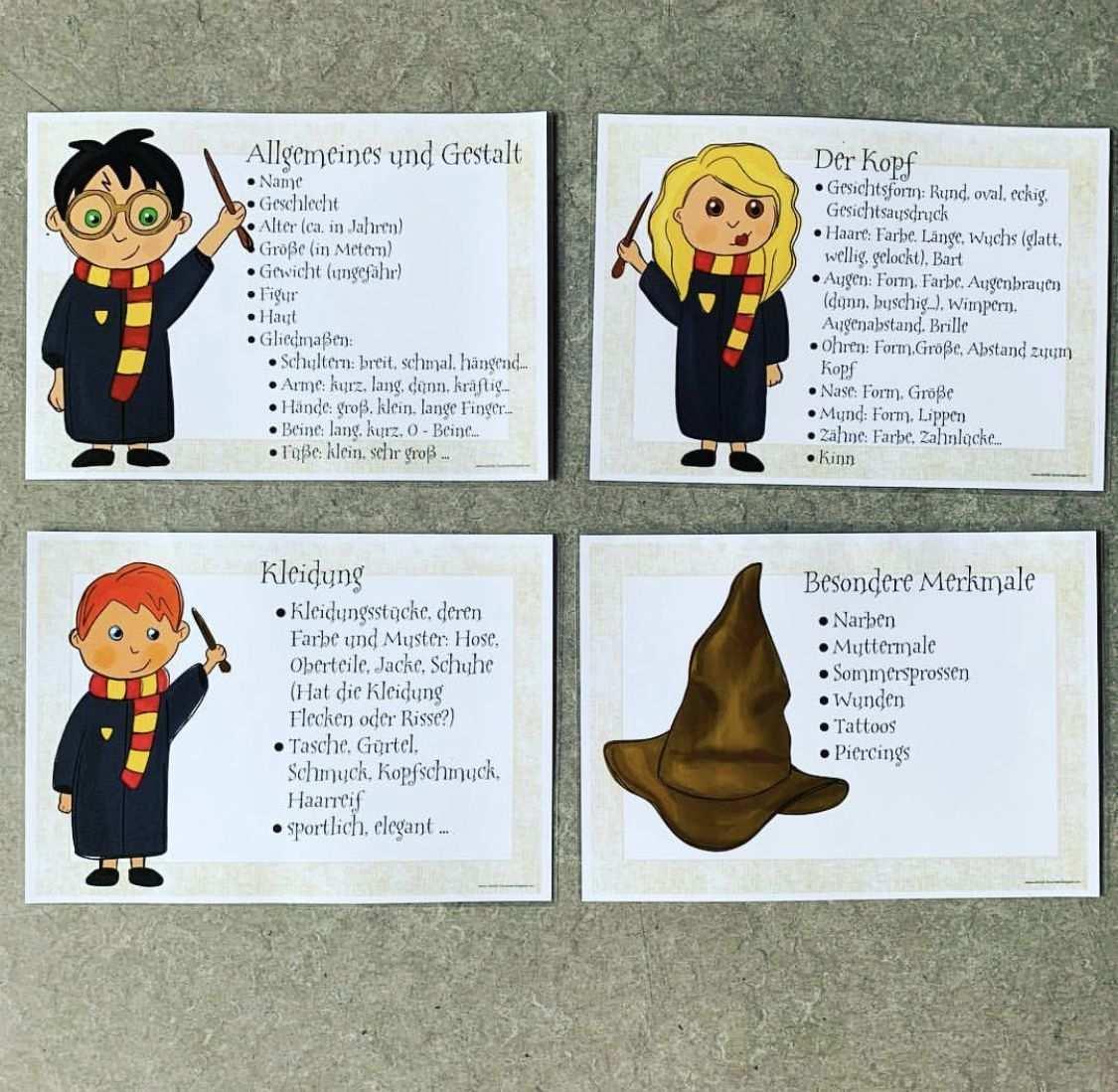 Personenbeschreibung Aushang Schreiben Classroom Education Poster Potter School