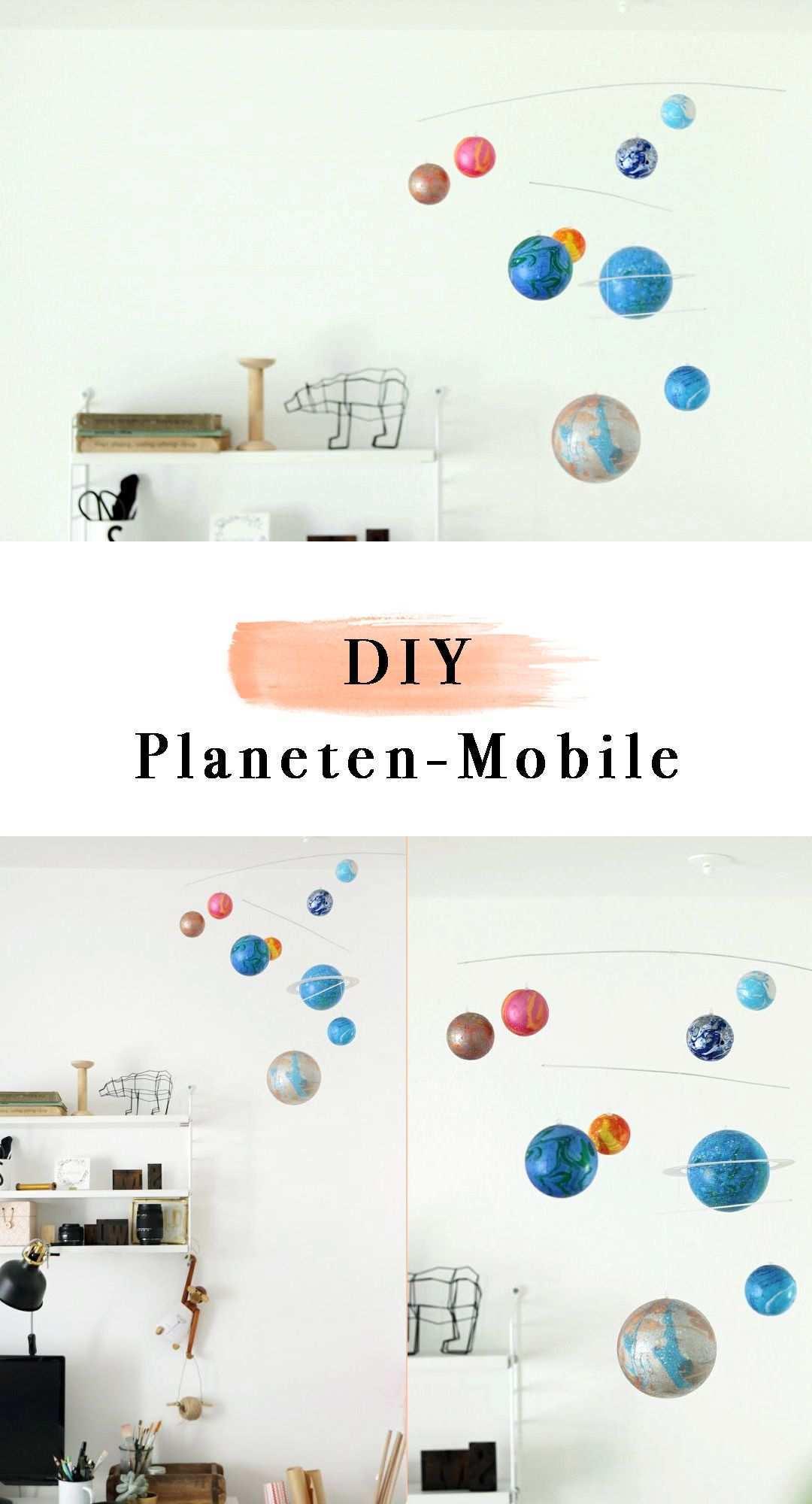 Diy Planeten Mobile Diy Mobile Aus Styroporkugeln Ganz Einfach Selber Machen Selbst Gemachtes Mobile Aus Marmorierten Styroporkugel Baby Diy Mobile Basteln