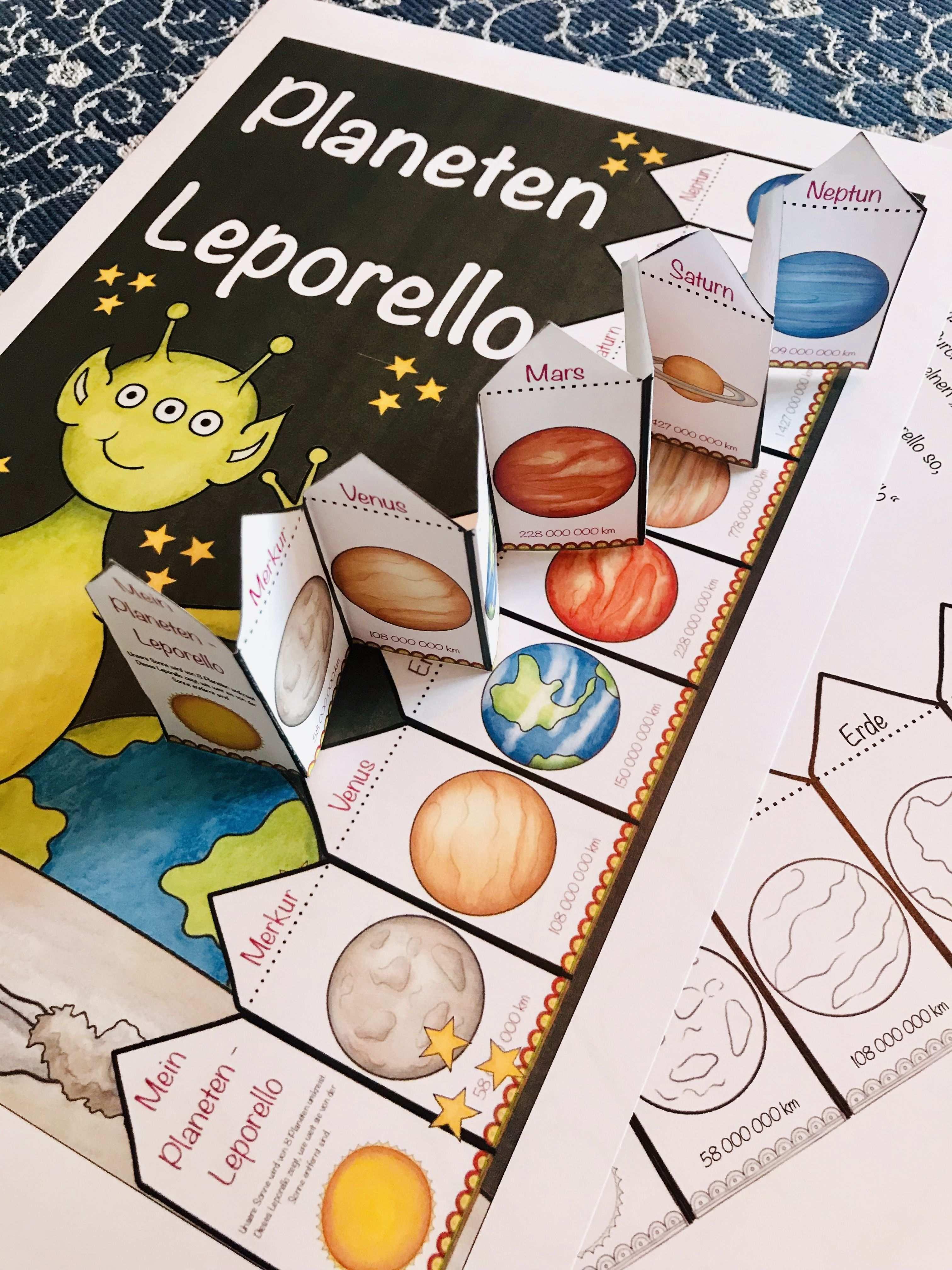 Planeten Leporello Lehrermarktplatz Sachunterricht Planeten Aktivitaten Im Kindergarten Naturwissenschaftsprojekte