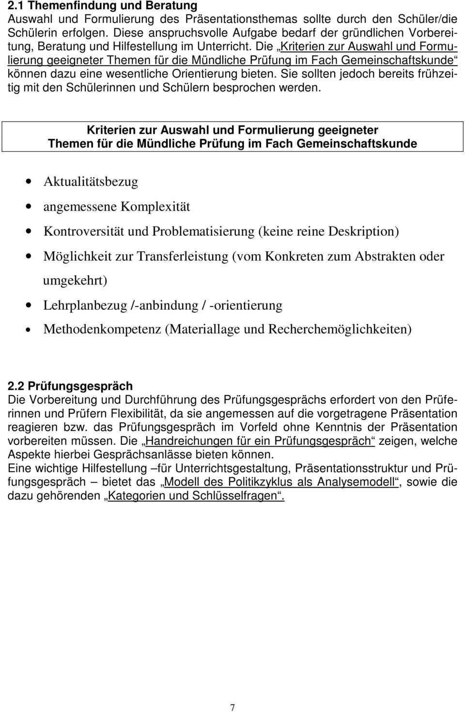 Vorbereitung Und Durchfuhrung Der Mundlichen Abiturprufung Im Fach Gemeinschaftskunde Pdf Kostenfreier Download