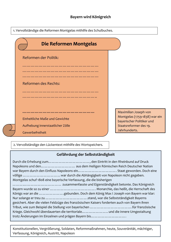 Montgelas Und Bayern Wird Konigreich Unterrichtsmaterial Im Fach Geschichte Unterrichtsmaterial Aufhebung Bayern