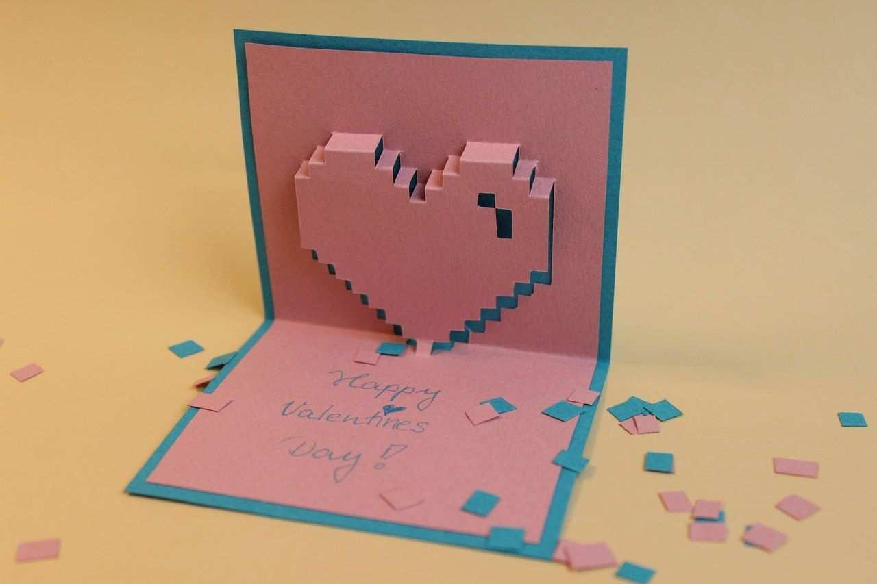 Valentinstag Pixelherz Pop Up Karte Valentine Valentinstag Diy Pixelherz Herz Basteln Geschenk Shopping Fun Something To Do Some Fun