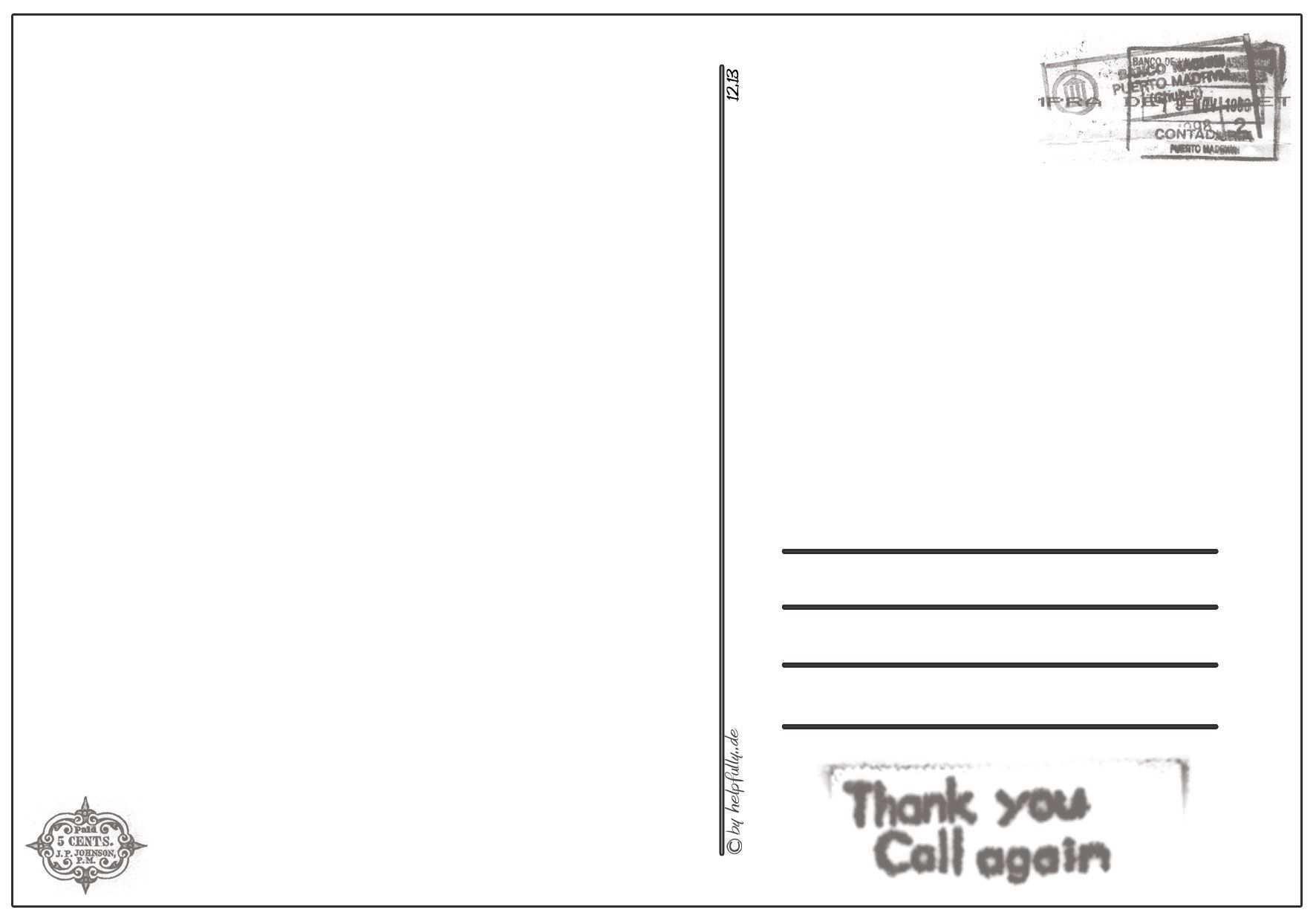 Papiervorlage Postkarte Thank You 3 In 2020 Postkarten Vorlagen Papier