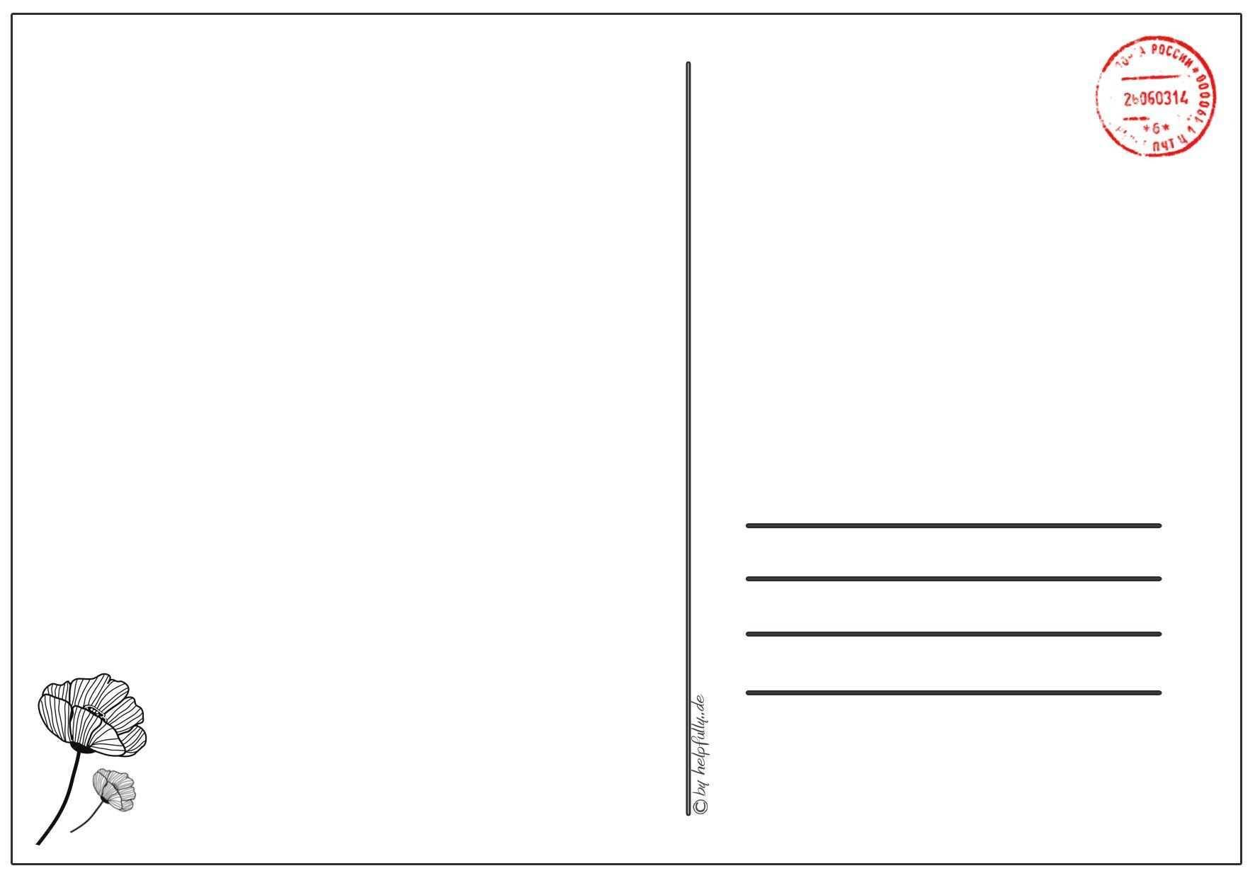 Papiervorlage Postkarte Mohnblume 5 Postkarten Vorlagen Papier