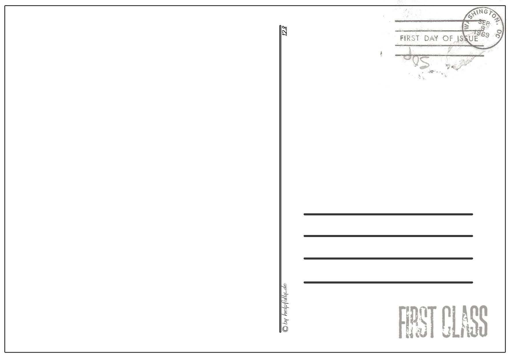 Papiervorlage Postkarte First Class 7 Postkarten Gutscheine Vorlagen